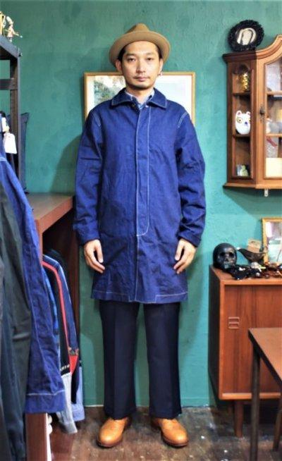 画像3: BOOZE Denim Half Coat(比翼ミドル丈 緯撚杢デニムコート) ステッチ綿糸20番手(残りXLのみ)