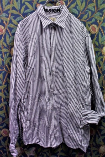 画像1: BOOZE Distortion Pocket Shirt(シャトル織機歪みストライプオックスフォードシャツ)