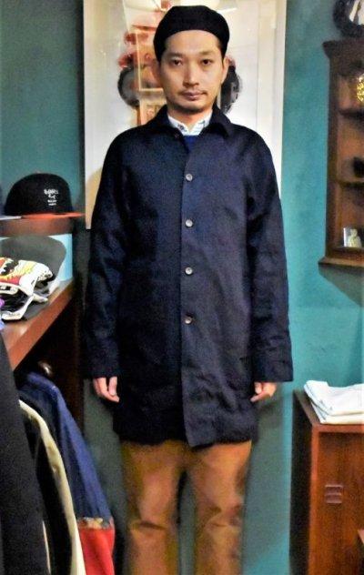 画像3: BOOZE  Raglan Half Coat(2度染めデニムミドル丈ステンカラーコート)衿微調整版