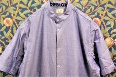 画像1: BOOZE  Stand Collar Shirt(シャトル織機ブルーオックスフォード) (1)