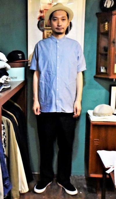 画像2: BOOZE  Stand Collar Shirt(シャトル織機ブルーオックスフォード)