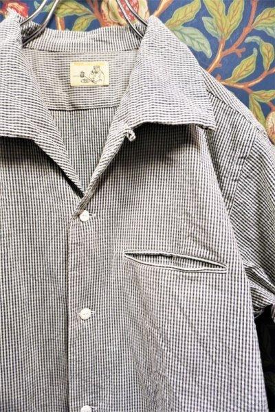 画像1: BOOZE  Open Collar Shirt(シアサッカー開襟シャツ)