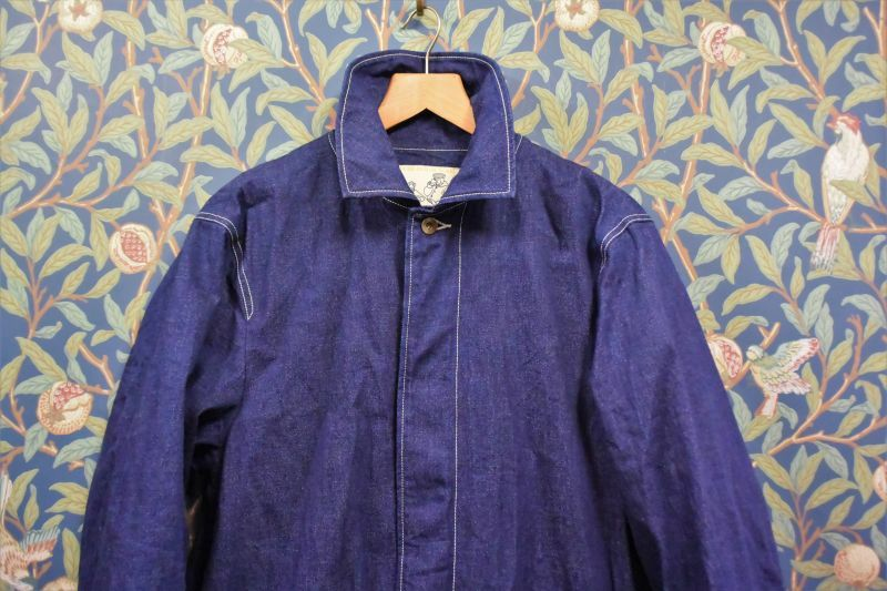 画像1: BOOZE Denim Half Coat(比翼ミドル丈 緯撚杢デニムコート) ステッチ綿糸20番手(残りXLのみ) (1)