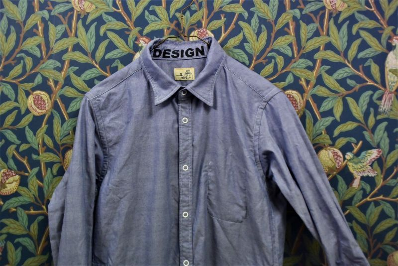 画像1: BOOZE Pocket Shirt(シャトル織機ブルーオックスフォードシャツ) (1)