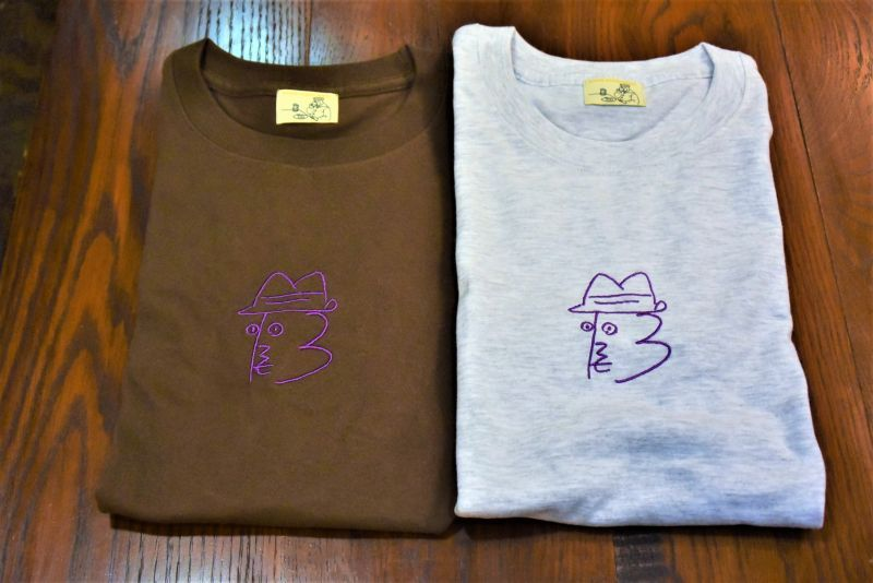 画像1: BOOZE ニューロゴ紫刺繍Tシャツ アートワーク中村穣二 (1)