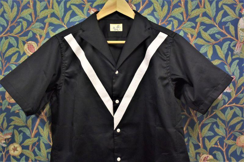 画像1: BOOZE  V飾りテープ コットンシルク開襟シャツ (1)