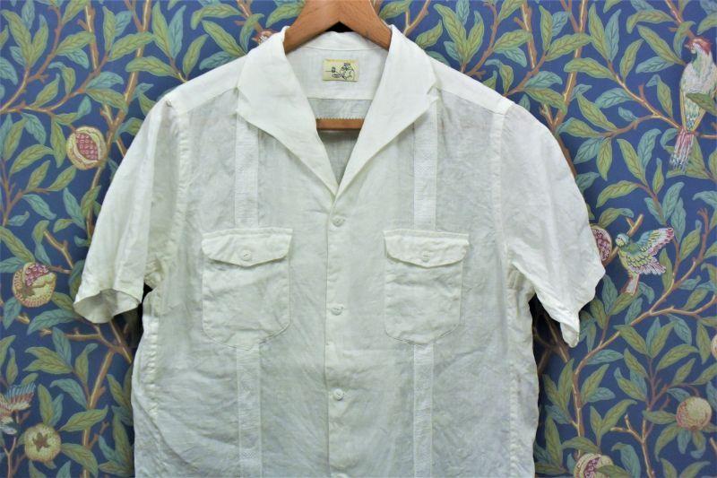 画像1: BOOZE  フレンチリネン キューバシャツ (1)