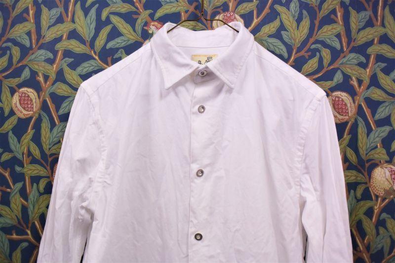 画像1: BOOZE Oxford Gathered Shirt(ギャザーシャツ シャトル織機ホワイトオックスフォード) (1)