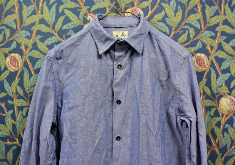 画像1: BOOZE  ギャザーシャツ シャトル織機ブルーオックスフォード
