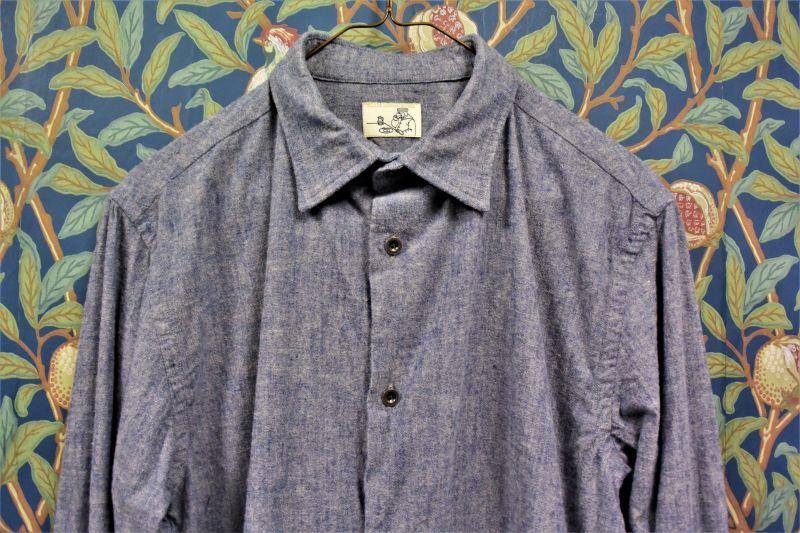 画像1: BOOZE  ギャザーシャツ 起毛シャンブレー (1)