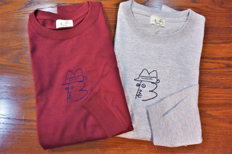 画像1: BOOZE ニューロゴ紺刺繍ロングTシャツ アートワーク中村穣二 (1)