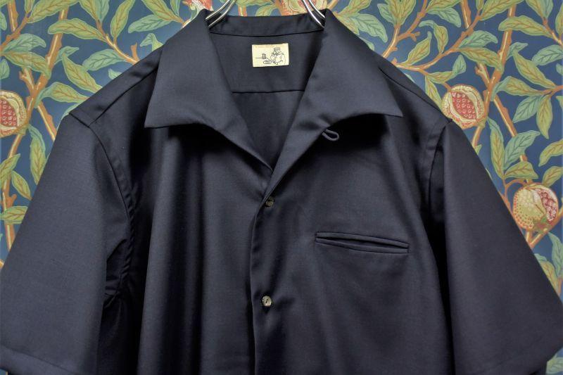 画像1: BOOZE  Open Collar Shirt(生地HOLLAND&SHERRY 開襟シャツ) (1)