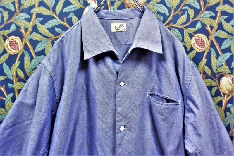 画像1: BOOZE  Open Collar Shirt(シャトル織機ブルーオックスフォード開襟シャツ) (1)