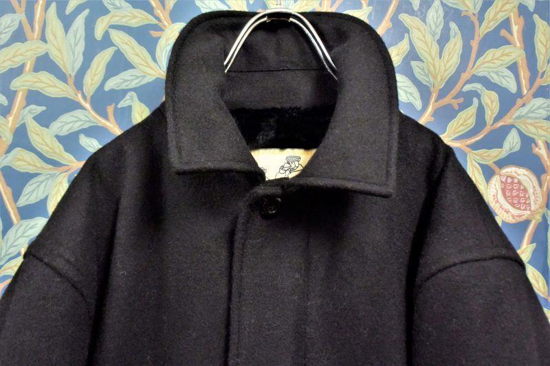 画像1: BOOZE  Fly Front WOOL Coat(ショート丈ステンカラーコート裏地フェイクファー) (1)