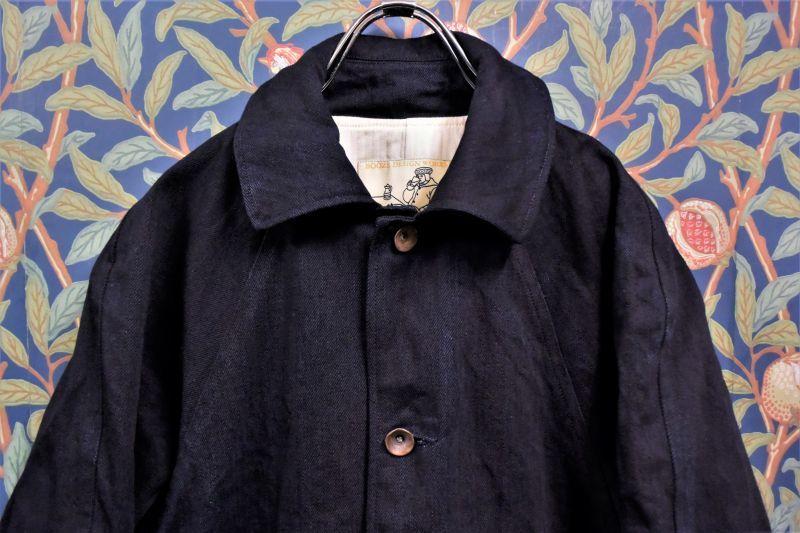 画像1: BOOZE  Raglan Half Coat(2度染めデニムミドル丈ステンカラーコート)衿微調整版 (1)