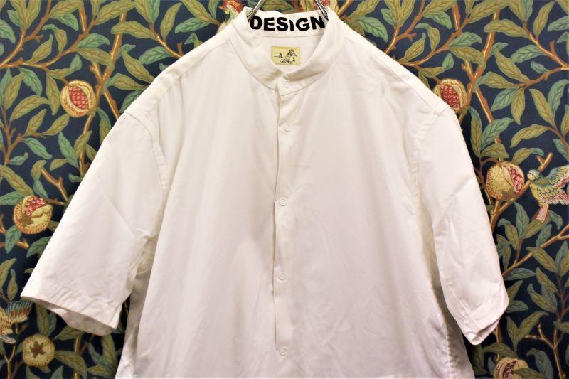 画像1: BOOZE  Stand Collar Shirt(シャトル織機ホワイトオックスフォード) (1)