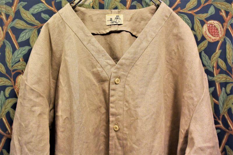 画像1: BOOZE  V Neck Linen Shirt(変形ベースボールシャツ)男女兼用 (1)
