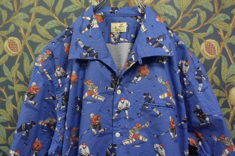 画像1: BOOZE  Open Collar Shirt(ホッケー柄開襟シャツ) (1)