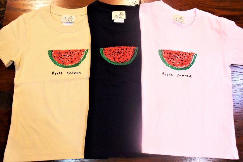 画像1: BOOZE  スイカ刺繍 キッズTシャツ (1)