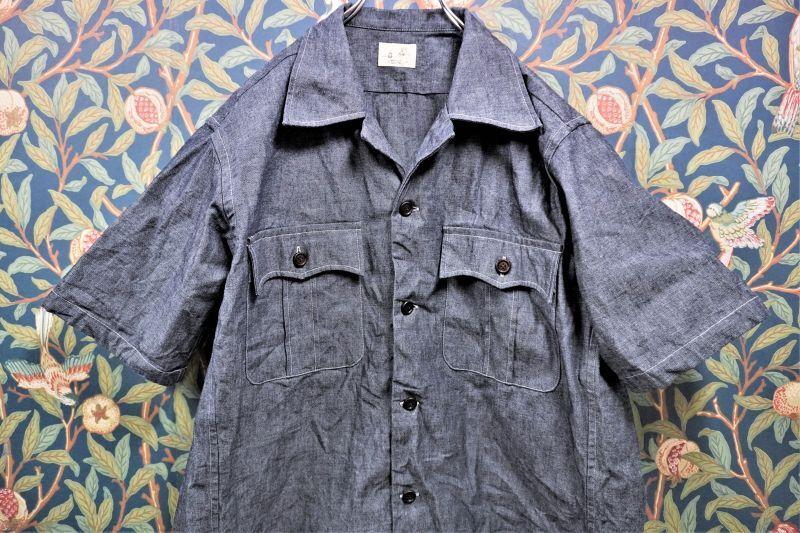 画像1: BOOZE Open Collar Shirt(ダンガリーオープンカラーシャツ) (1)