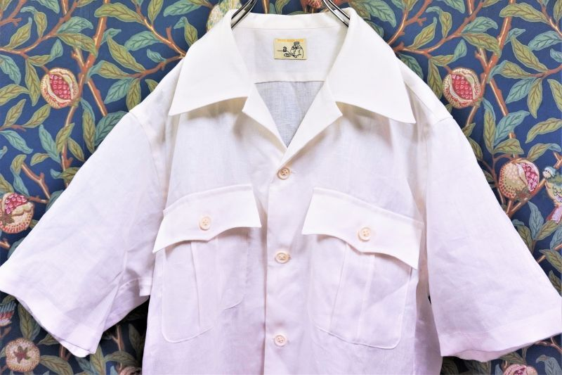画像1: BOOZE Open Collar Shirt(麻オープンカラーシャツ) (1)